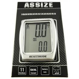 Велокомпьютер ASSIZE CB16-F20-013 11F, проводной, серебристый